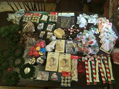 Christmas Craft Supply Estate Lot 49 Santas Angels Wreaths Ornaments +