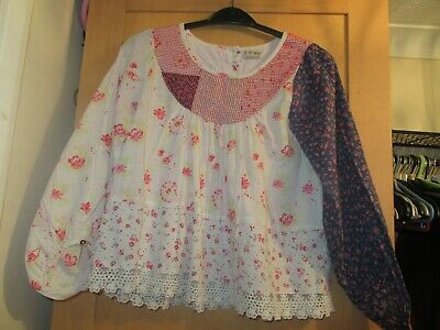 Next Girls Age 13 Years Flower Patchwork Blouse Long Sleeve Top