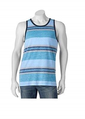 LEVI'S Strauss Men's Small Tank Top Blue Coral Stripes Summer Cotton Blend NWT