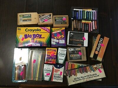 Art Supplies Lot Crayons Pastels Charcoal & Such #53