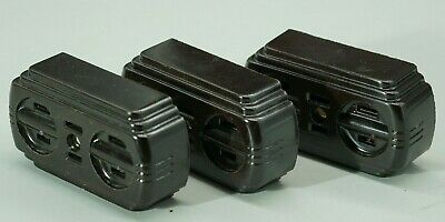 Eagle Bakelite 2 Prong, 3 Extension Outlet Decorative Electrical NOS NEW Tuxedo