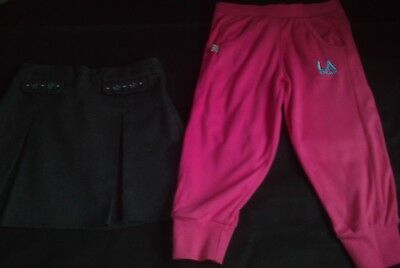 Girls Age 6-7 Years Grey M&S School Skirt And Pink La Gear Crop Joggers
