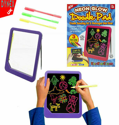 Neon Light Up Tablet Kids Glow Pad Draw Doodle Board Art Playset