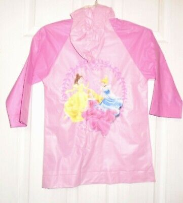 Disney Princess Girl's Pink Raincoat  L/S Attached Hood Size Small  4-5  NEW