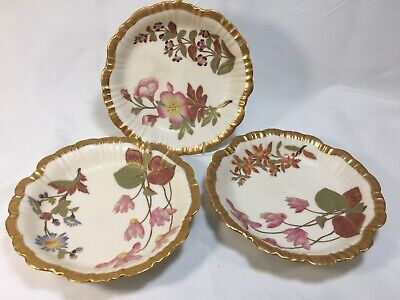 (3) Antique Royal Worcester Blush Ivory  6 Inch COUPE BOWLS c1888