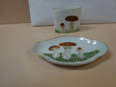 Antique FRAUREUTH pair of porcelain pieces.Red Mushroom design.Made in Germany.