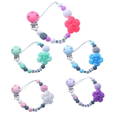 Baby Pacifier Clips Holder Chain Silicone Beads Food Grade Pacifier Chains D3D5