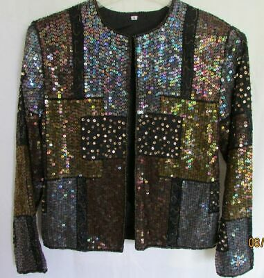 Vtg Women S Sequined Beaded Evening Jacket Blk Lined LS Hook & Eye Sparkly Embro