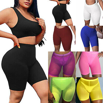 Womens High Waist Stretch Yoga Half Pants Gym Fitness Cycling Bike Skinny Shorts