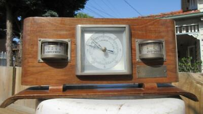 1959 Thermometer Barometer & Hygrometer Set in Timber Frame for lady Agnes Luqa.