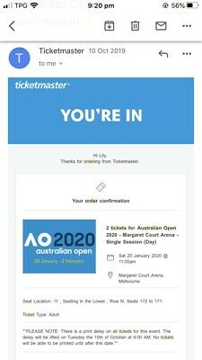 Australian Open tickets X2, Sat 25th Jan 2020
