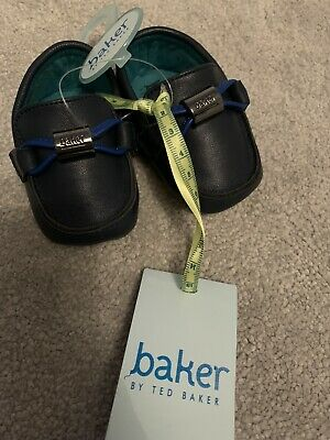 New Ted Baker Baby Boys Navy Blue Faux Leather Pram Shoes Size 0-3 Months
