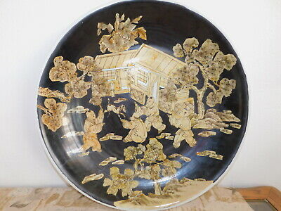 """Vintage/Antique Asian Chinese Porcelain Plate Bowl Charger 21"""" Black/Gold Buddha"""