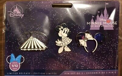 Disney Minnie Mouse The Main Attraction Space Mountain Pin Set Jan 2020