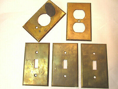 Lot of 5 Antique Bryant Brass Switch Outlet Plates