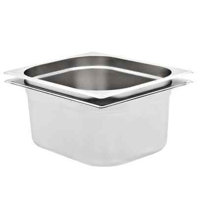 vidaXL 2x Pans GN 1/2 150mm Stainless Steel Kitchen Stackable Tray Container