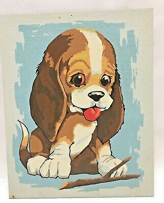 Vintage Completed Basset Puppy Dog Unframed Paint by Number Painting PBN 8x10