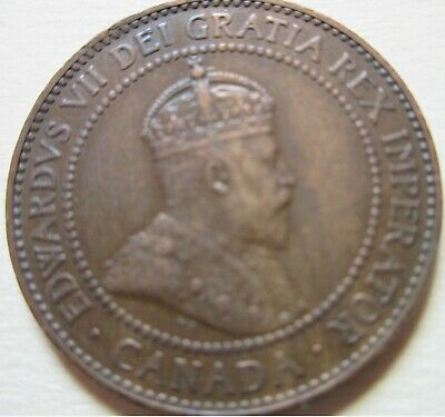 1909 Canada Edward VII Large Cent Coin. NICE GRADE 1 Penny (C450)