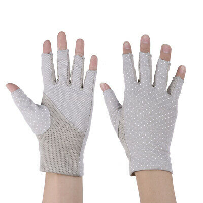 1 Pair Half Finger Gloves UV Protection Outdoor Sunproof Mitten for Riding Women