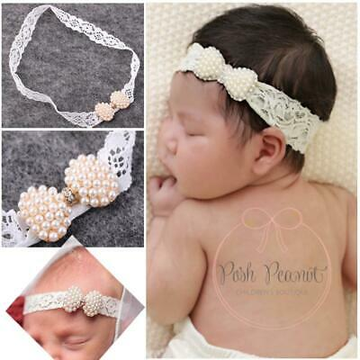Newborn Infant Pearl Lace Knot Baby Hairband HeadWrap Headband Bowknot