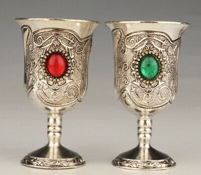 2 Antique China Silver-Plated Wine Cup Glasses Decorated Old Gemstone Gift