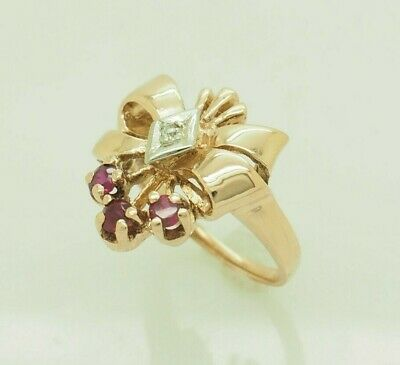 Vintage 14K Rose Gold 0.35ctw Round Cut Ruby w/Diamond Accents Cocktail Ring 5.5