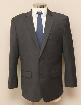 Mens 44R Slim Alfani RED 2 Piece Grey Herringbone Wool Blend Blazer