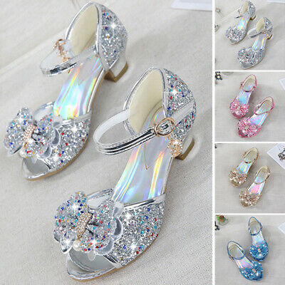 Kid Girl Toddler Mid Block Heel Sequins Sandals Ankle Strap Open Toe Party Shoes