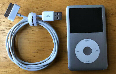 Apple iPod classic 7th Generation Silver 120 GB Working w/ Charging USB Cable