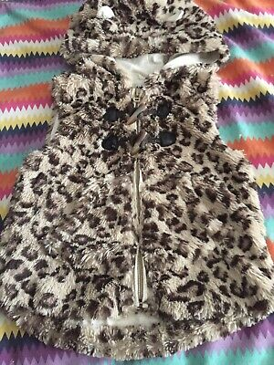 Girls Faux Fur NEXT Hood Gillet Body Warmer 5-6 Leopard Print Jumper
