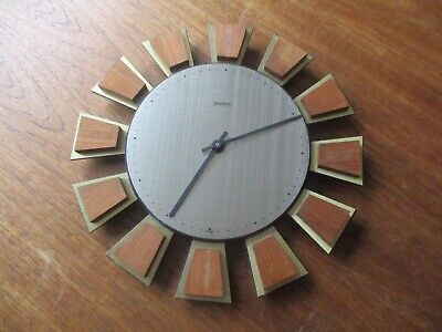 VTG RETRO ACCTIM TEAK WOOD SUNBURST STARBURST WALL CLOCK 60s MID CENTURY