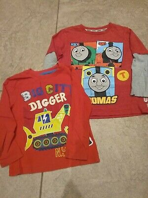 boys red long sleeve tops x 2 1 nutmeg 1x Primark age 4 to 5yrs