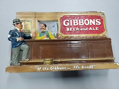 Vintage Gibbons Beer and Ale Chalkware Chalk Statue with Mirror Wilkes-Barre Pa