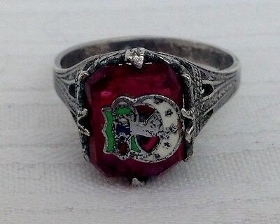 Antique Sterling Silver & Enamel Inlay Masonic Fraternal Red Stone Signet Ring