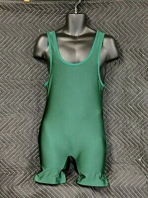 Mens -Matman Wrestling Singlet - Unlettered Green - Adult Large -  Athletic Gear