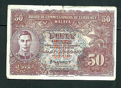 Malaya (P10b) 50 Cents 1941 King George VI aVF