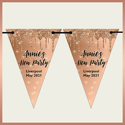 Personalised BLING MARBLE BUNTING Party Banner Birthday Hen Night Rose Gold