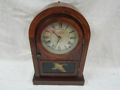 Estate Antique Seth Thomas 8 Day Chiming Mantle Clock Flying Wild Duck Nice Cond
