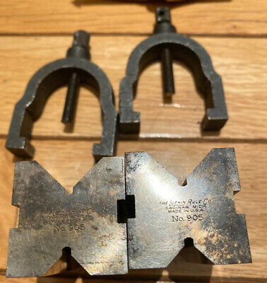 2 Vintage Lufkin Rule Co No 905 V Block with Clamps Machinists Tools