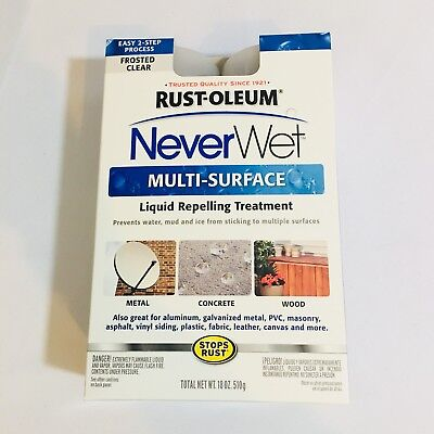 Rust-Oleum Never Wet Multi Surface Liquid Repelling Treatment Frosted Clear New