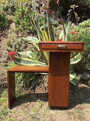 Art Deco Vintage Timber 1940s Telephone Hall Table Or Plant Stand Single Drawer