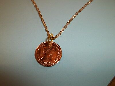 HALF PENCE (HALF PENNY) COIN GOLD NECKLACE - 1975 - 45th BIRTHDAY