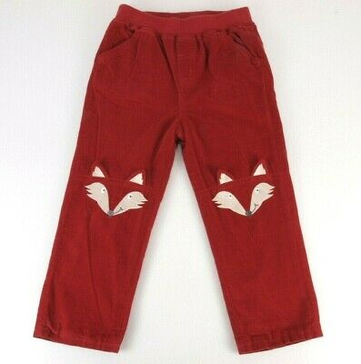 JoJo Maman Bebe Russet Fox Cord Trouser Pants Size 2/3 Lined Embroidered Knee