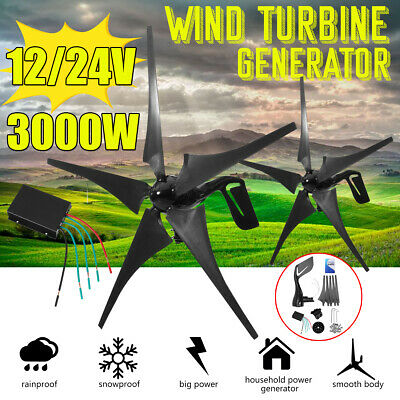 5 Wind 3000W Turbine Charger Generator Efficient Controller Horizontal  12/24V