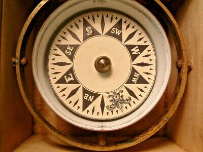 Antique Copper Brass Ships Compass In Wood Box Look Wow!!