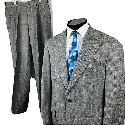 Ralph Lauren Polo University Club 42R Wool Suit Grey Houndstooth 32/30 USA
