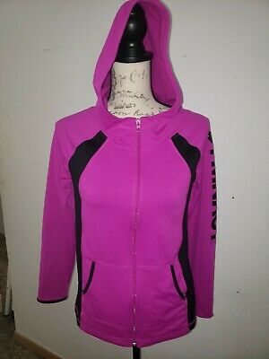 Justice Hoodie Size 12/ 14 Full Zip neon purple bright Gymnast Active Youth