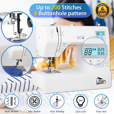 208 Stitches Electric Sewing Machine Overlock Double-line Auto Threader Free Arm