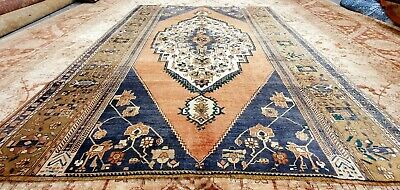 "Primitive Late 1930's Antique  Wool Pile, Muted Dye Oushak Area Rug 6'5"" x8'"