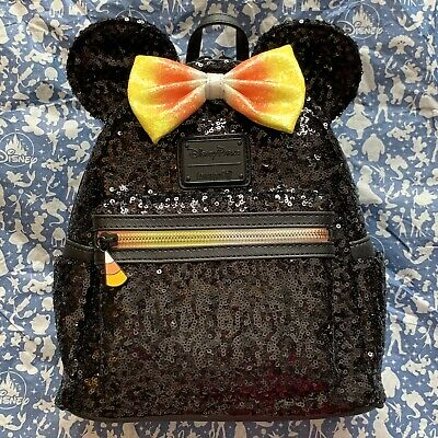 Disney Parks Loungefly Minnie Mouse Candy Corn Sequined Mini Backpack